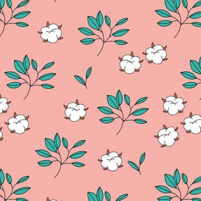 Lush autumn delicate garden leaves and cotton balls flowers botanical print teal peach