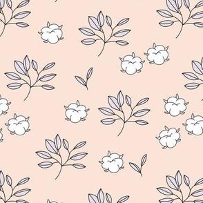 Lush autumn delicate garden leaves and cotton balls flowers botanical print lilac mauve creme
