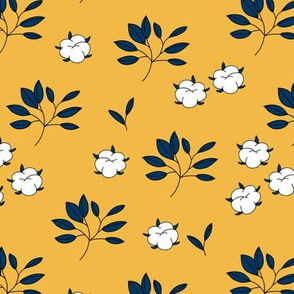 Lush autumn delicate garden leaves and cotton balls flowers botanical print ochre navy blue