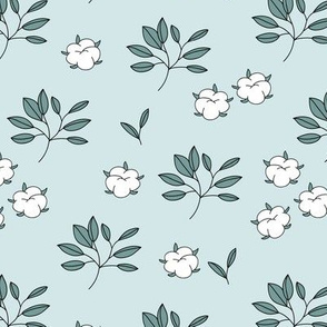 Lush autumn delicate garden leaves and cotton balls flowers botanical print soft blue sage green