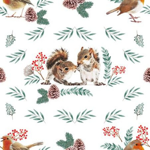 Winter flora and forest little animals
