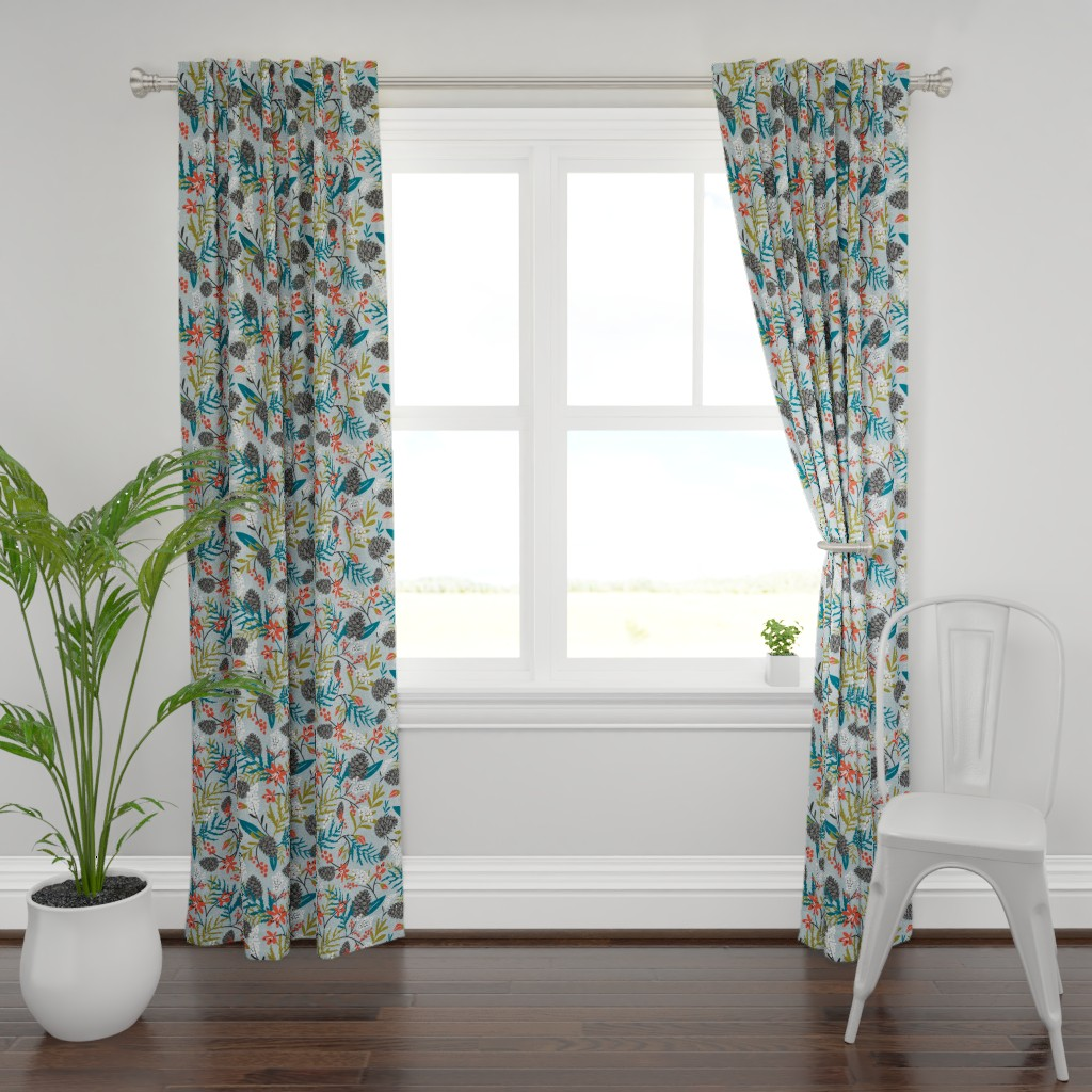 Plymouth Curtain Panel featuring Winterly Forest - Grey Blue Large Scale by heatherdutton