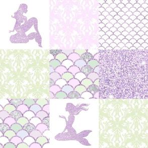 Glitter Mermaid Quilt- light purple and green