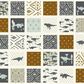 Dinosaur Cheater Quilt - Geometric, Light Blue, Slate, Cream, Copper