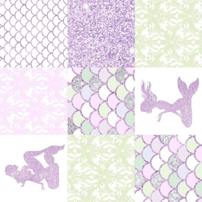 Glitter Mermaid Quilt- Purple And green - rot