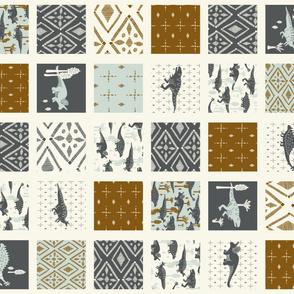 Dinosaur Cheater Quilt - ROTATED - Geometric, Slate, Copper, Light Blue, Cream,