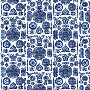 Ernst Haeckel Diatomea Diatoms in Bright Blue
