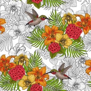 Hummingbirds and tropical bouquet