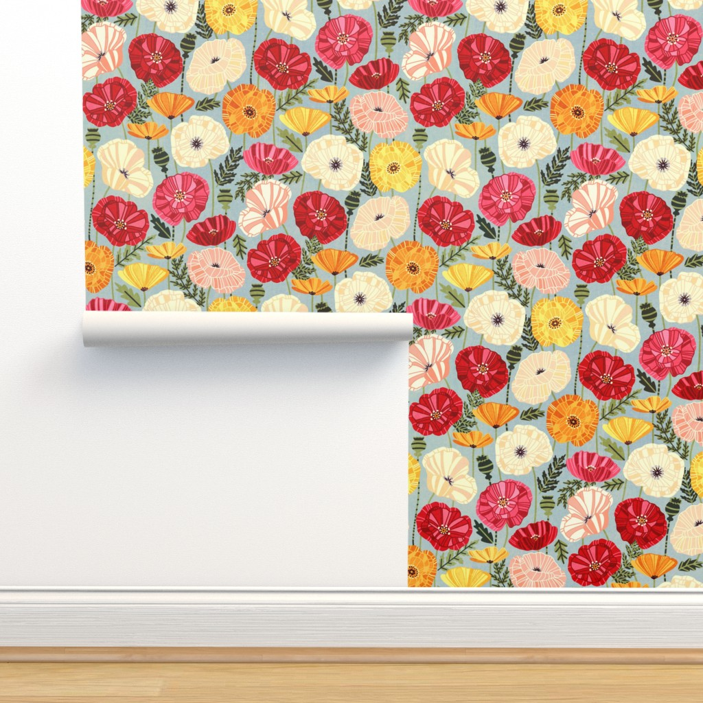Isobar Durable Wallpaper featuring Iceland Poppies by tigatiga