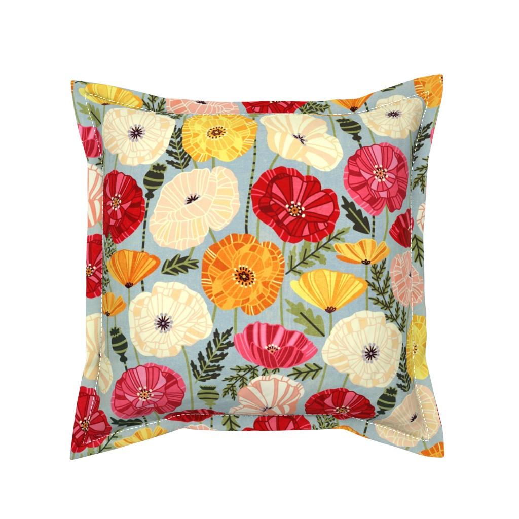 Serama Throw Pillow featuring Iceland Poppies by tigatiga