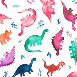 Little Tossed Multicolored Ditsy Dinos on White