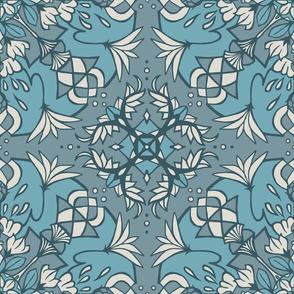 Mandala Lotus - Subtle Muted Blue
