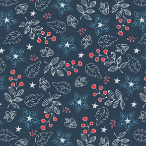 Seamless vector pattern with Christmas flowers on blue background. Simple floral holidays wallpaper design. Ideal for wrapping paper, home decoration.