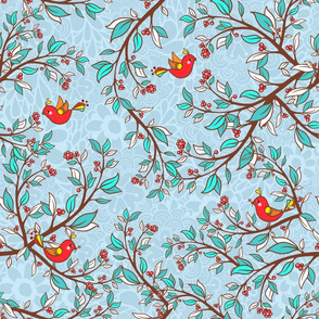 Holly and birds - XL