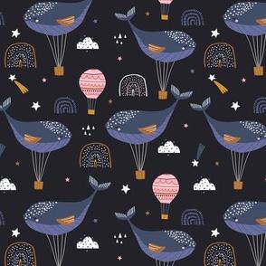 Sleeping whales hot air balloons