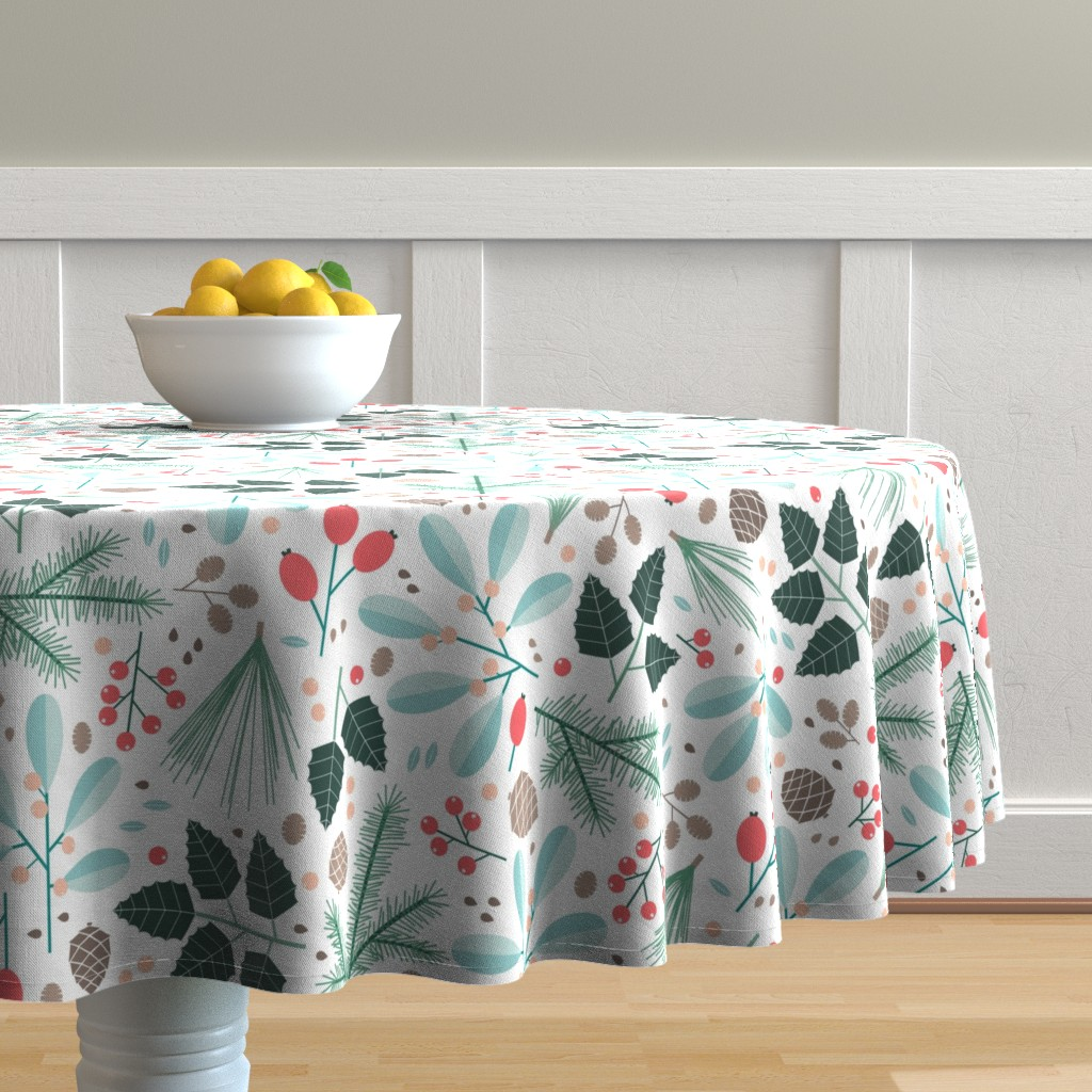 Malay Round Tablecloth featuring botanical winter by heleenvanbuul