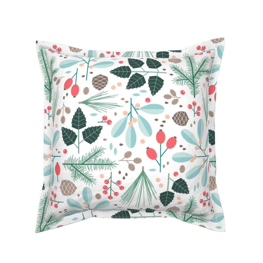 Serama Throw Pillow featuring botanical winter by heleenvanbuul