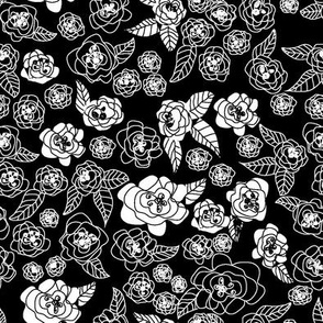 sketching flowers black and white