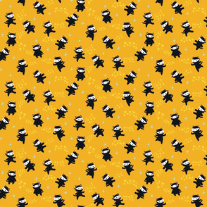 Ninja Cats with Star Power on Yellow Background - 12 inch repeat