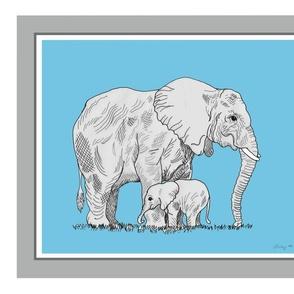 African elephant 18x21 fat quarter panel