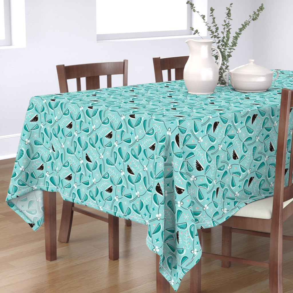 Bantam Rectangular Tablecloth featuring MCM_Mistletoe and Blackbirds by mia_valdez