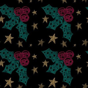 Winter Holly Berries and Stars on Black