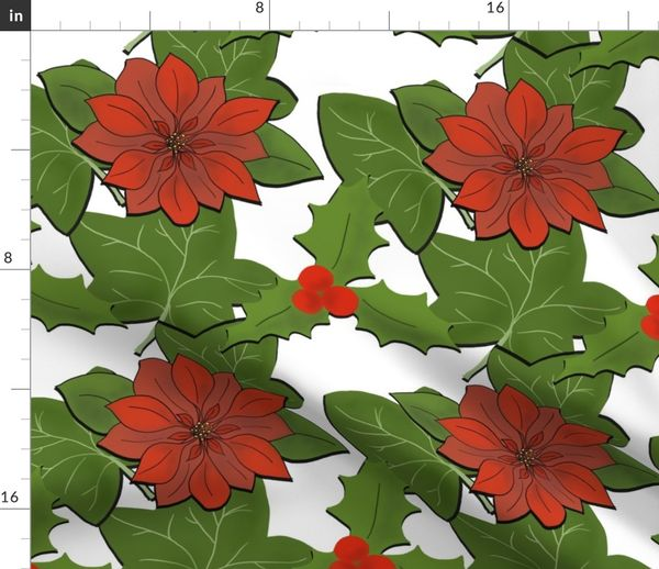 Christmas Flowers.Colorful Fabrics Digitally Printed By Spoonflower Christmas Flowers And Leaves