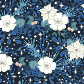winterflowers magical blue