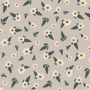 Ditsy Magnolias on Grey