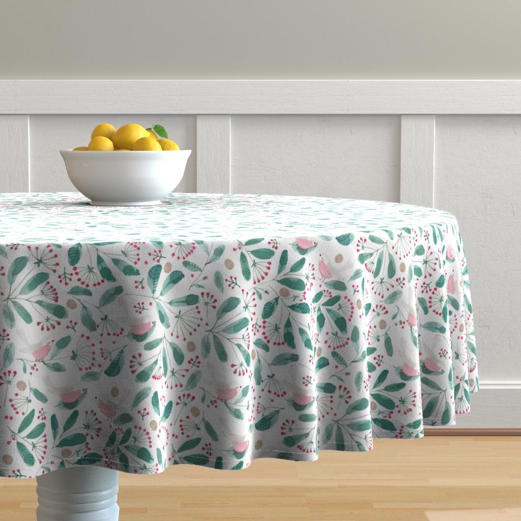 Malay Round Tablecloth featuring Winter birds by tatjana_mai-wyss