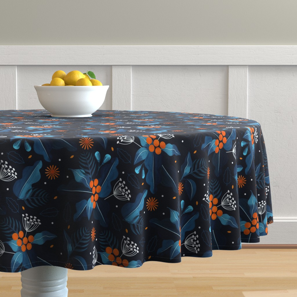 Malay Round Tablecloth featuring winter_flora by marfonsina