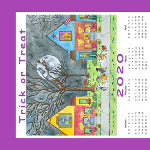 Trick or Treat Folk Art Tea Towel Calendar