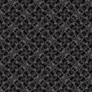 ★ SKULL PLAID ★ Black & Gray - Small Scale / Collection : Pirates Tessellations - Skull and Crossbones Prints