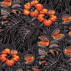 ★ TROPICAL NIGHT ★ Carnivorous Plant, Hibiscus & Monstera / Orange + Grayish Plum, Small Scale / Collection: It's a Jungle Out There – Savage Hawaiian Prints