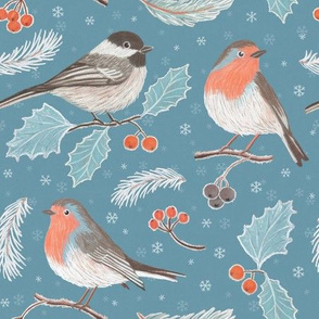 Robins and Frosted Leaves