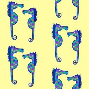 Seahorses and Polka Dots on Yellow