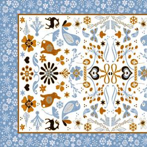 folk art tea towel grain blue orange