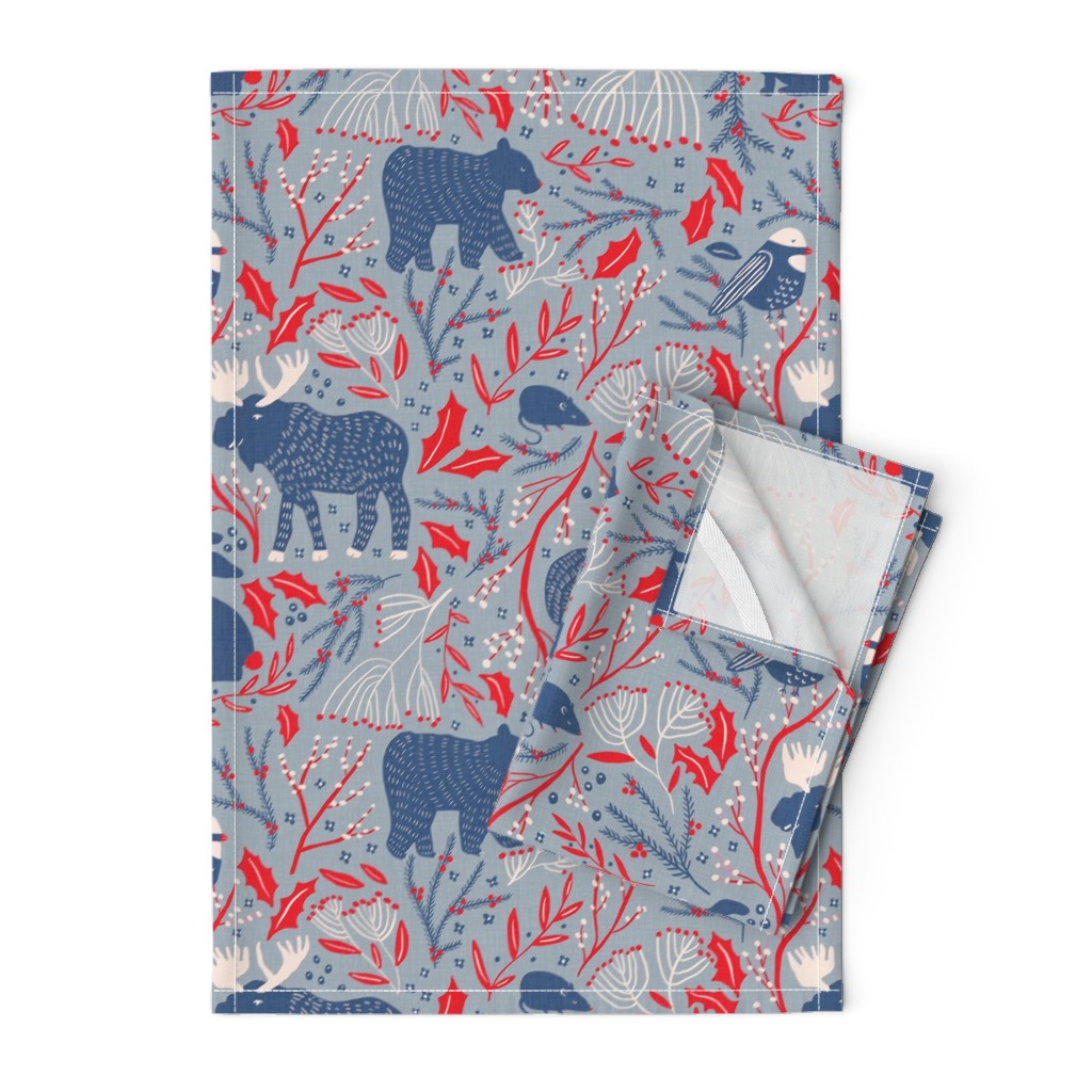 Orpington Tea Towels featuring Winter Wonder - Woodland Flora and Fauna by scarlette_soleil