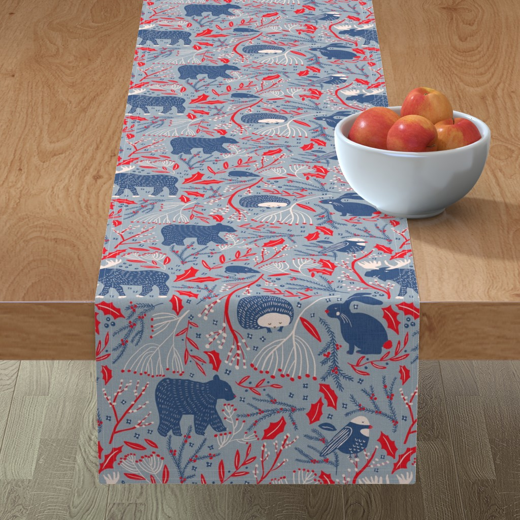 Minorca Table Runner featuring Winter Wonder - Woodland Flora and Fauna by scarlette_soleil
