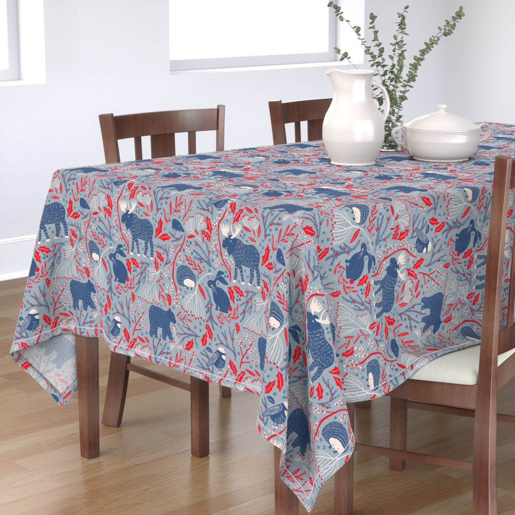Bantam Rectangular Tablecloth featuring Winter Wonder - Woodland Flora and Fauna by scarlette_soleil