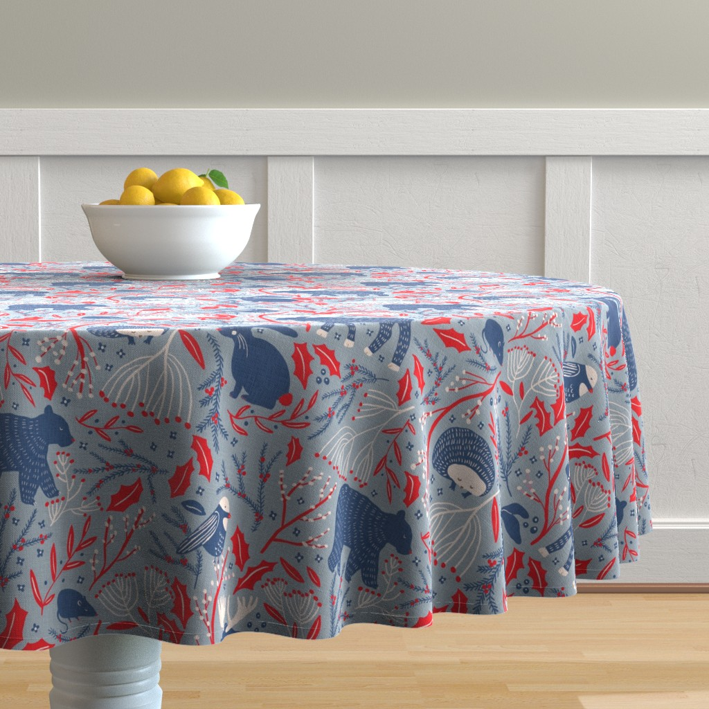 Malay Round Tablecloth featuring Winter Wonder - Woodland Flora and Fauna by scarlette_soleil