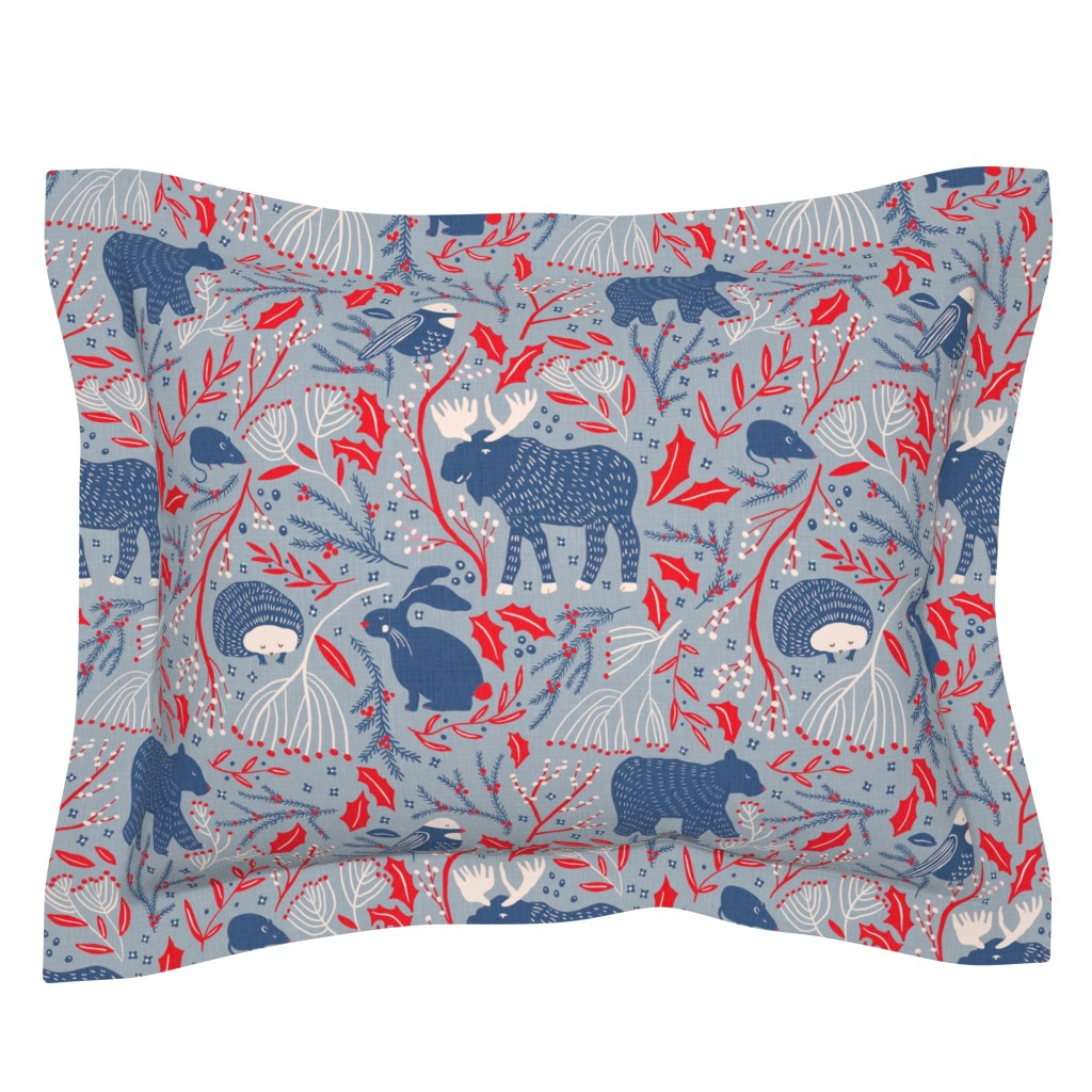 Sebright Pillow Sham featuring Winter Wonder - Woodland Flora and Fauna by scarlette_soleil