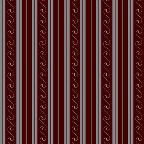 Grey Stripes on Red