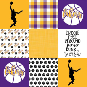 Basketball//Lakers - Wholecloth Cheater Quilt
