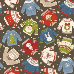 Christmas Sweaters-Muted-Flakes-Brown-Toss