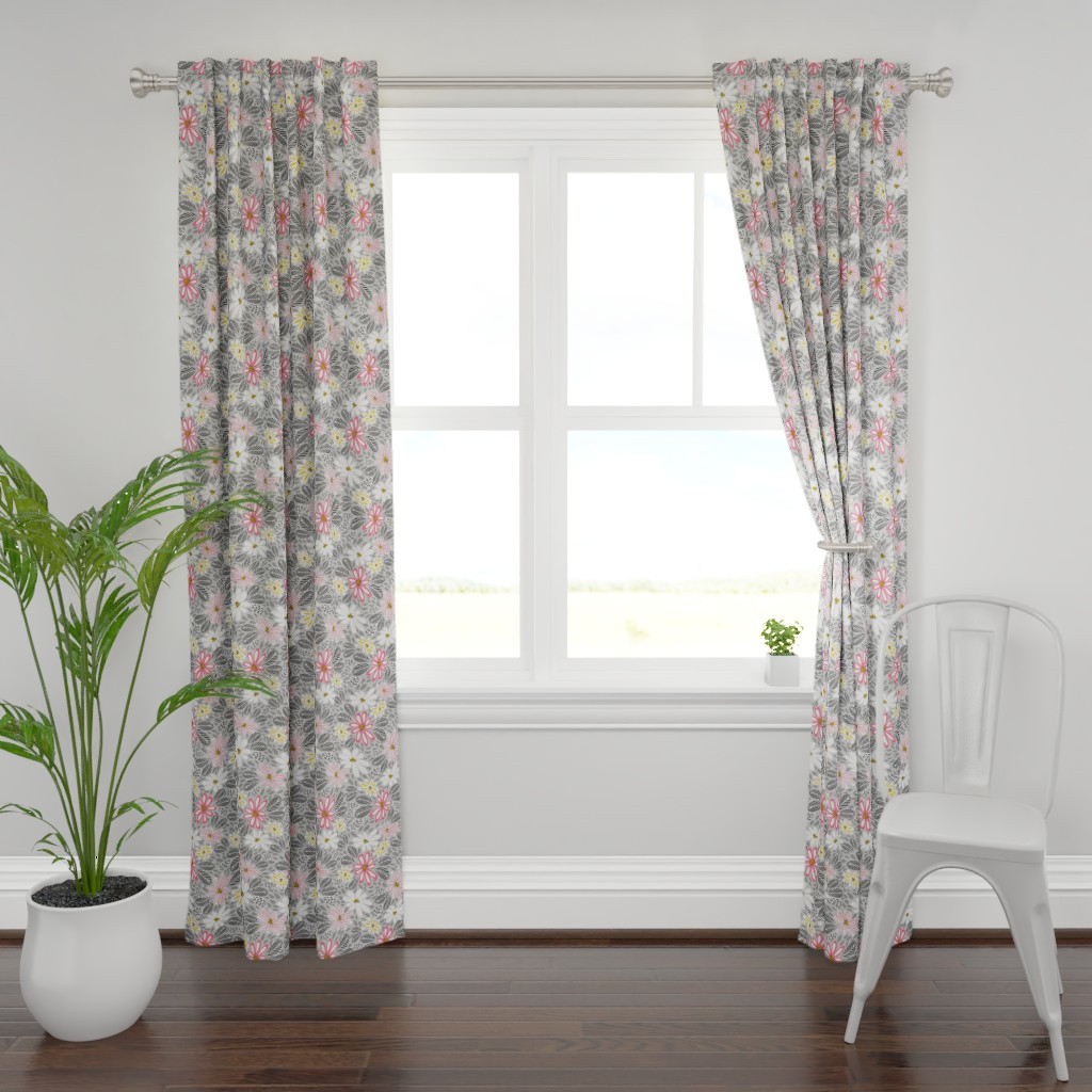 Plymouth Curtain Panel featuring SNOW BLUSH FLORAL 17130-150  by kirstenkatz
