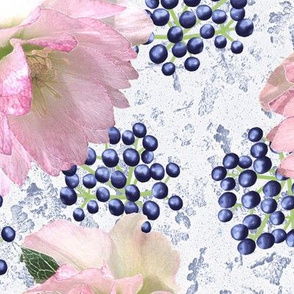 Hellebores and Blue Viburnum Berries on Frost