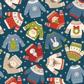 Christmas Sweaters-Muted-Flakes-Dk Blue-Toss