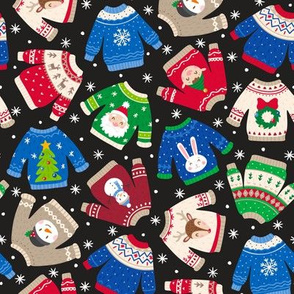 Christmas Sweaters-Trad-Flakes-Black-Toss