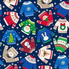 Christmas Sweaters-Trad-Flakes-Navy-Toss